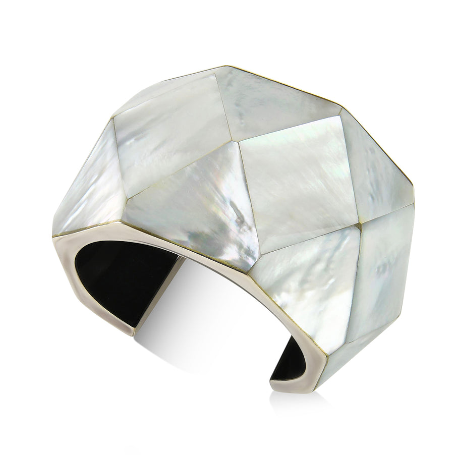SCULPTURAL MOTHER-OF-PEARL CUFF BRACELET