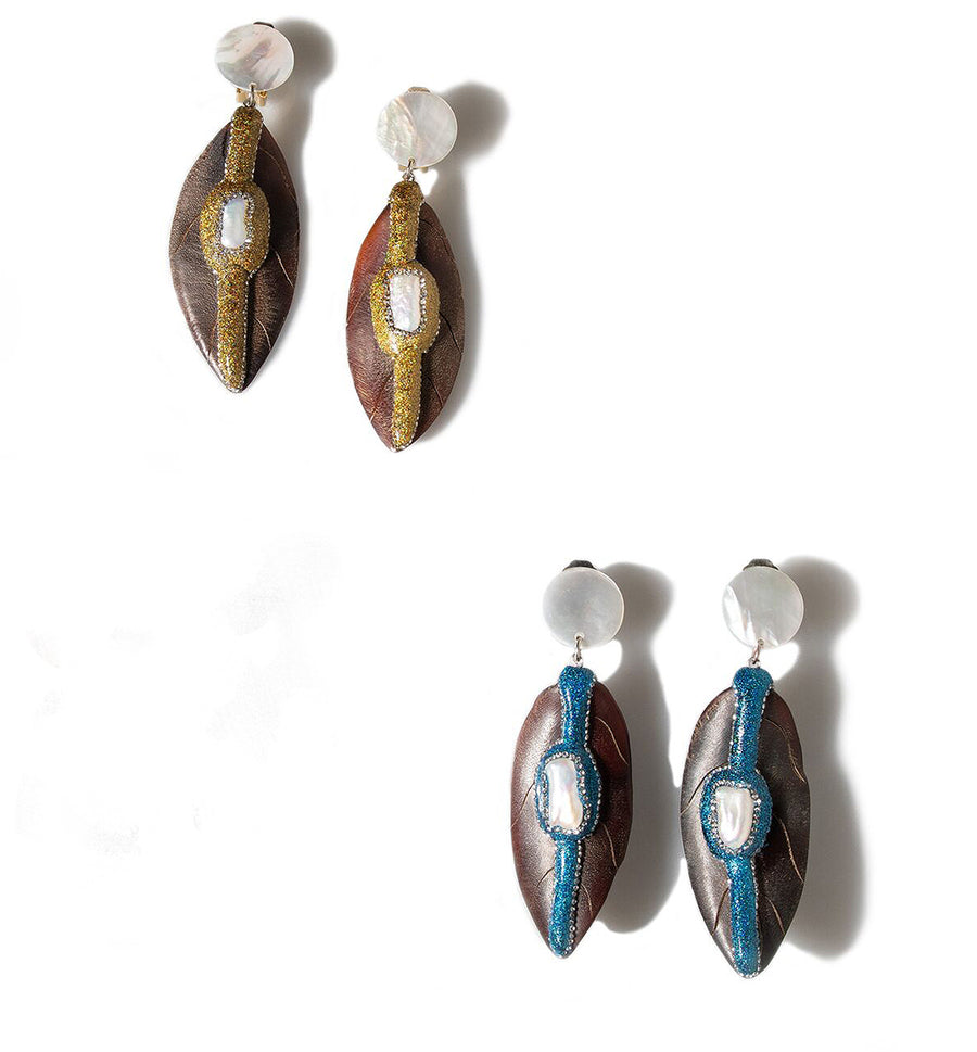 MOTHER-OF-PEARL AND CARVED WOOD LEAF DOUBLE DROP EARRINGS