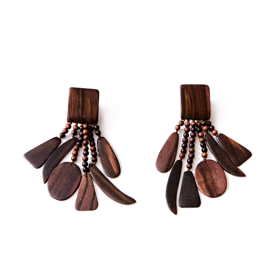DANGLE WOOD EARRINGS BROWN WOOD