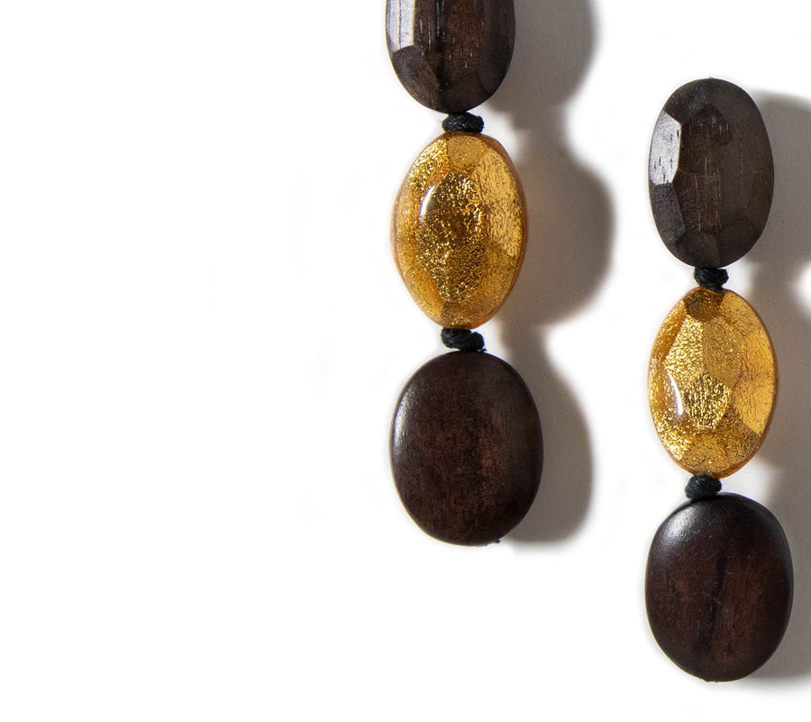 TRIPLE DROP WOOD AND GOLD EARRINGS