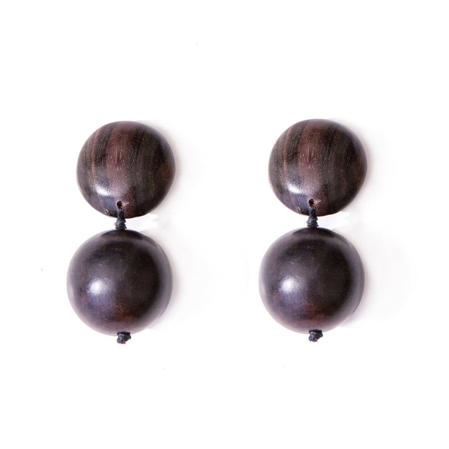 DOUBLE BALL WOOD EARRINGS BROWN WOOD