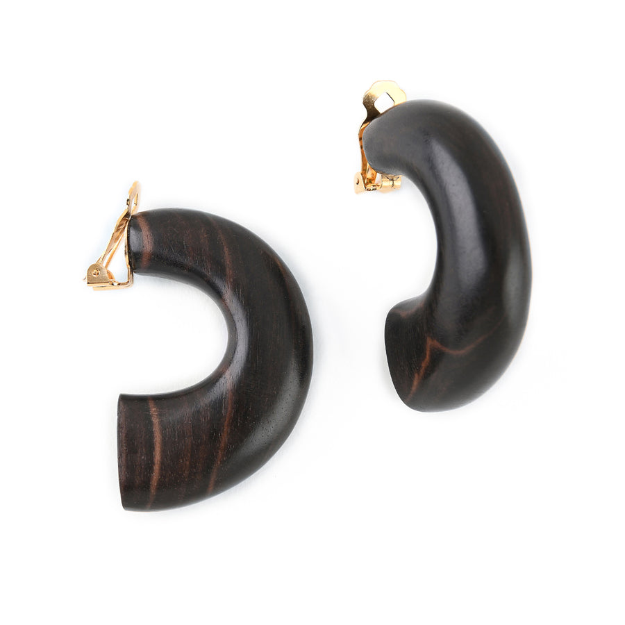 STATEMENT HALF MOON EARRINGS BROWN WOOD