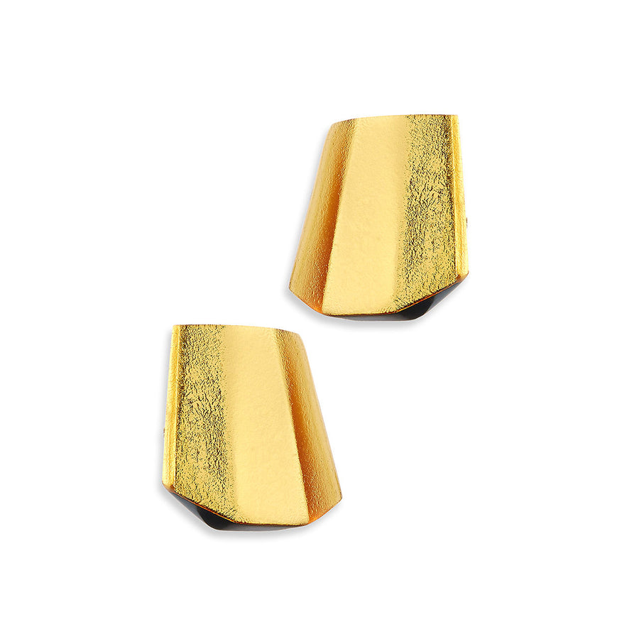 PYRAMID FACETED EARRINGS GOLD FOIL/RESIN