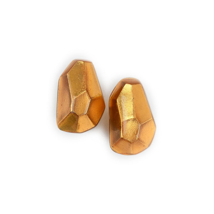 FACETED FREEFORM STUD EARRINGS GOLD FOIL/RESIN