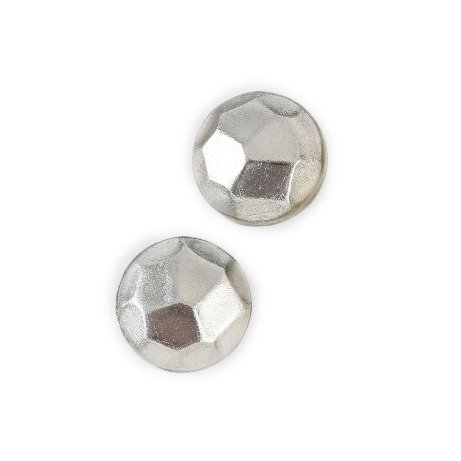 FACETED STUD EARRINGS SILVER FOIL/RESIN