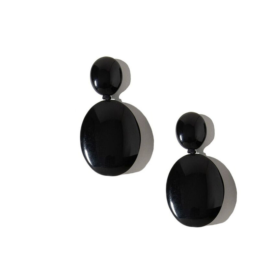 DOUBLE DROP BLACK RESIN EARRINGS