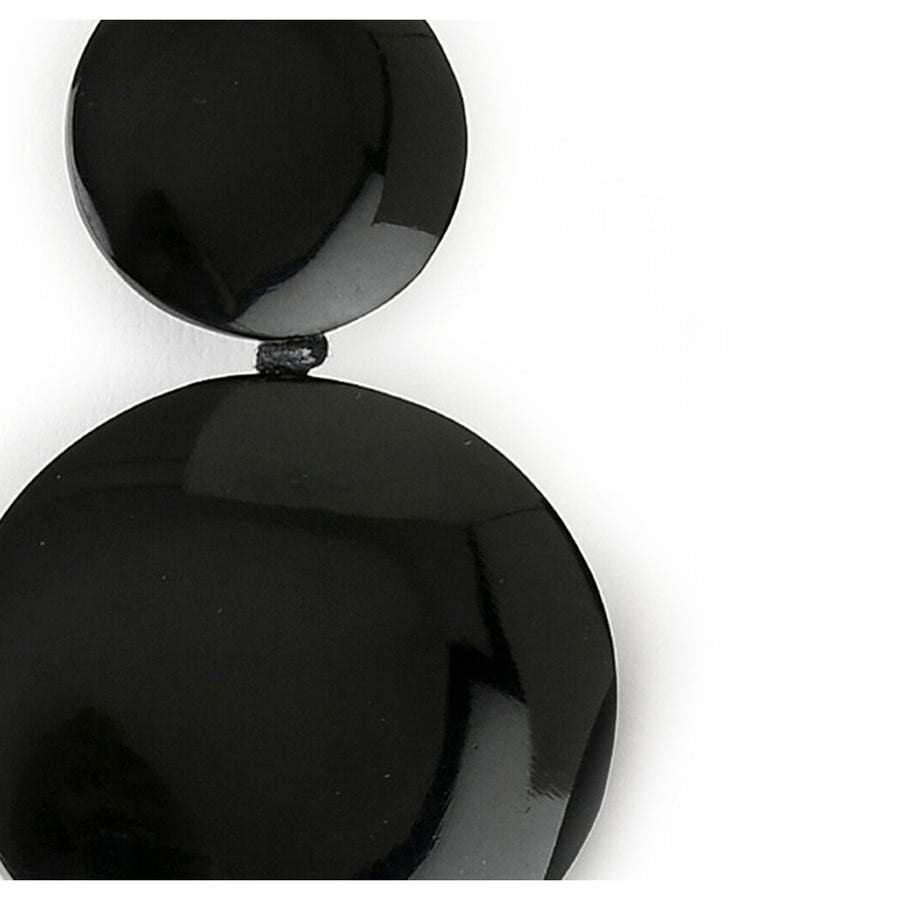 DOUBLE DROP DISC EARRINGS BLACK