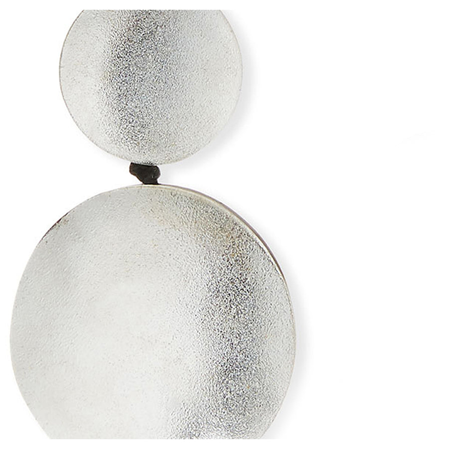 DOUBLE DROP DISC EARRINGS SILVER FOIL/RESIN