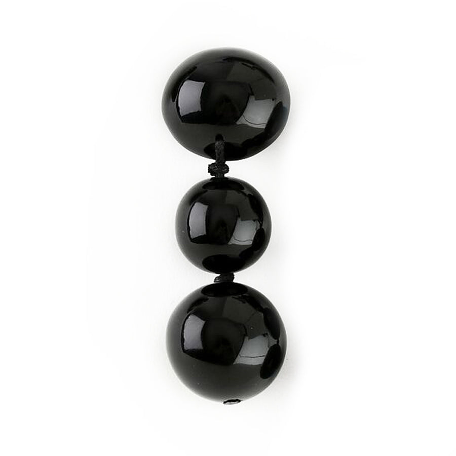 THREE DROP BALL EARRINGS BLACK DROP
