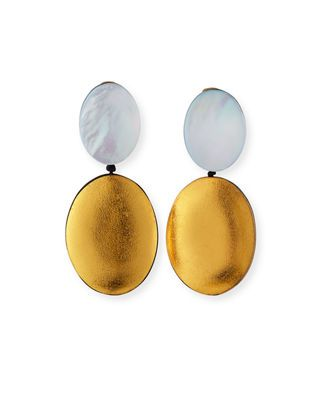 DOUBLE DROP GOLD AND SILVER MOP EARRINGS