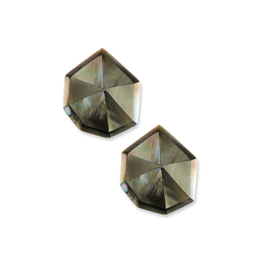 STARDUST FACETED STUD EARRINGS BLACK MOP