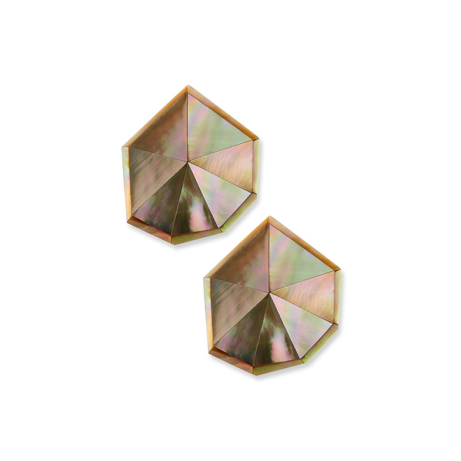 STARDUST FACETED STUD EARRINGS BLUSH MOP