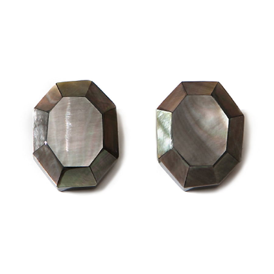 SQUARE BLACK MOP FACETED BUTTON EARRINGS