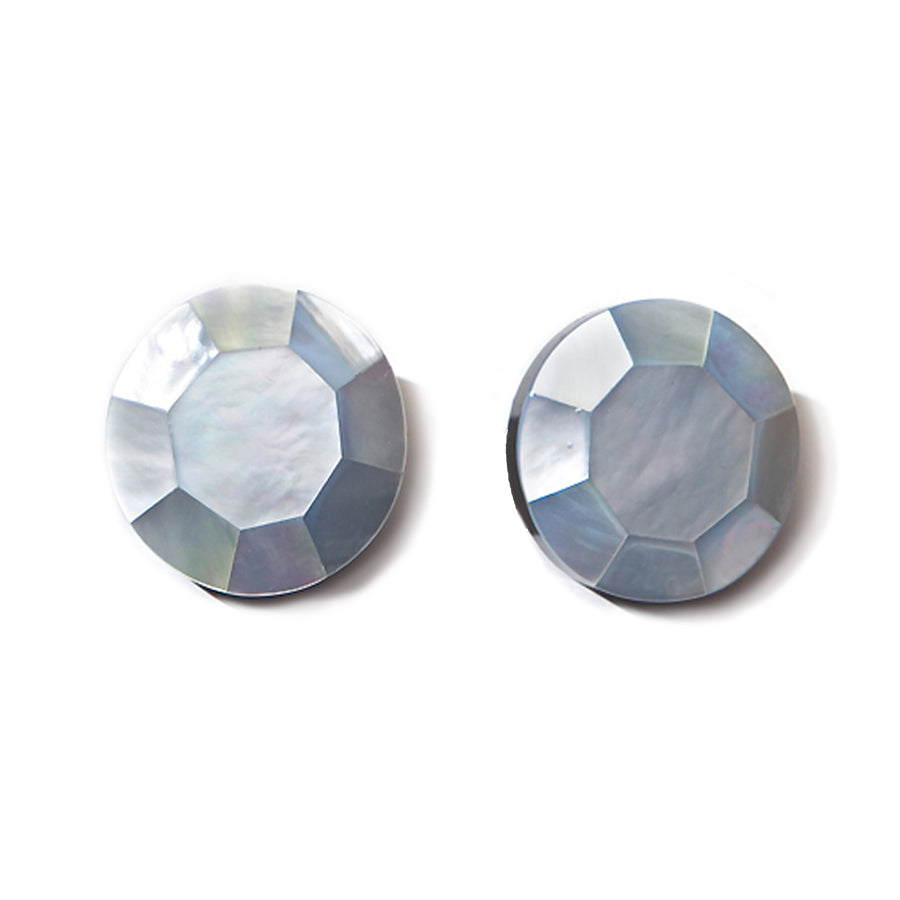 FACETED MOP BUTTON EARRINGS