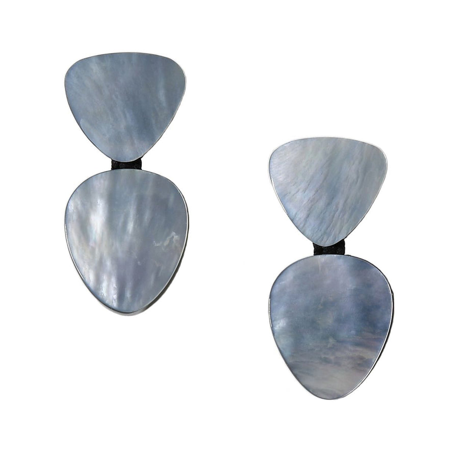 DOUBLE DROP MOTHER-OF-PEARL PETAL EARRINGS. SILVER MOP