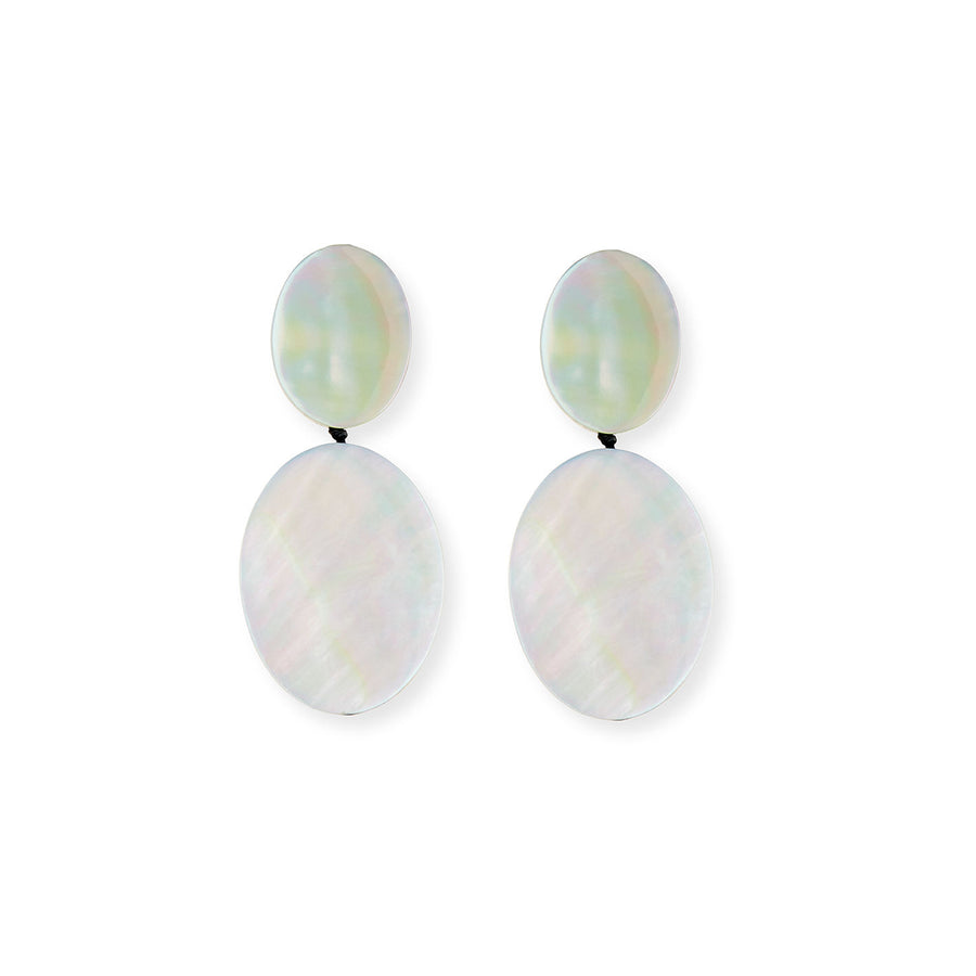 DOUBLE DROP OVAL MOTHER-OF-PEARL EARRINGS/SILVER MOP
