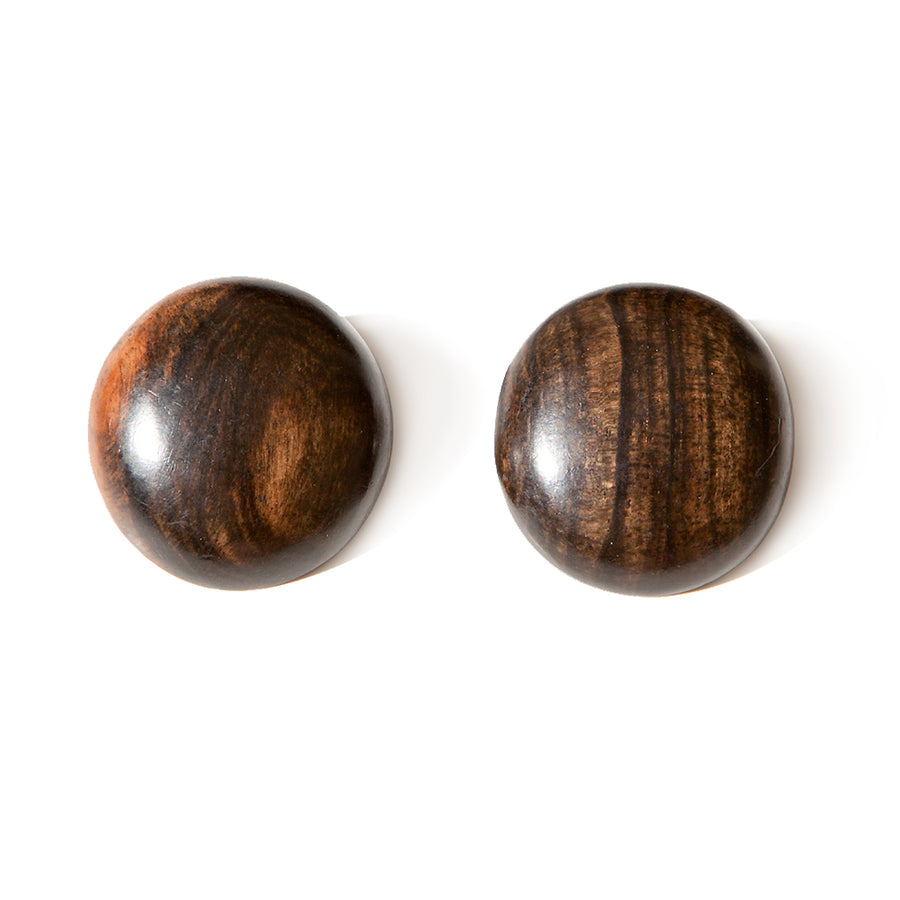 WOOD STUD ROUND EARRINGS BROWN WOOD
