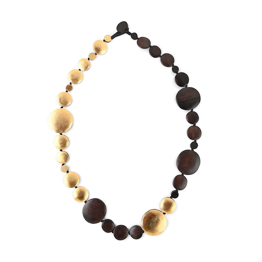 DISC OVAL NECKLACE WOOD/GOLD FOIL