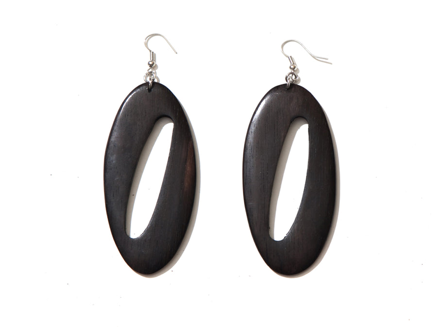 OPEN DESIGN ABSTRACT CUTOUT WOOD EARRINGS.