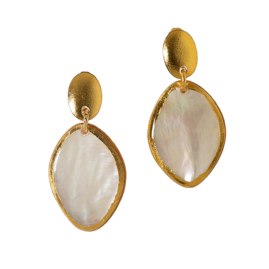 GOLD FOIL FRAMED MOTHER-OF-PEARL DROP STATEMENT EARRINGS