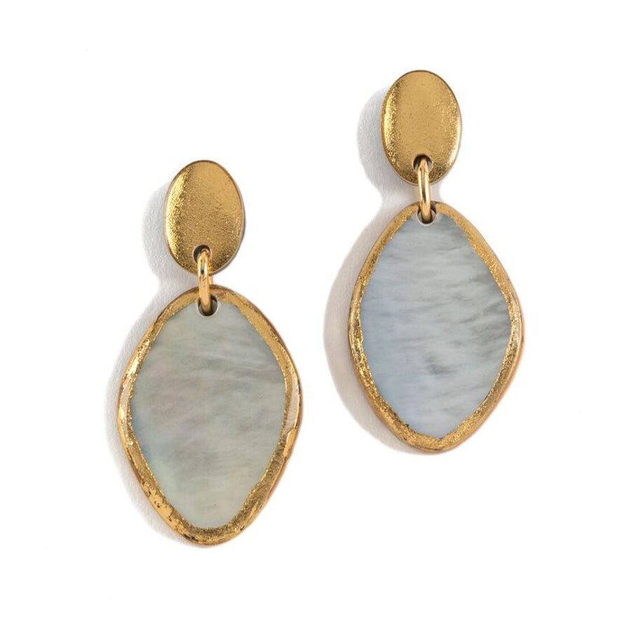 GOLD FOIL FRAMED DROP MOTHER OF PEARL STATEMENT EARRINGS
