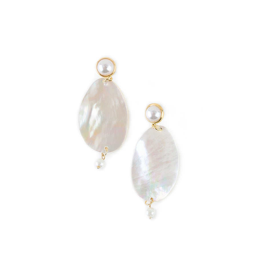 FAUX PEARL STUD AND MOTHER OF PEARL DROP EARRINGS WITH FRESH WATER PEARL ACCENTS