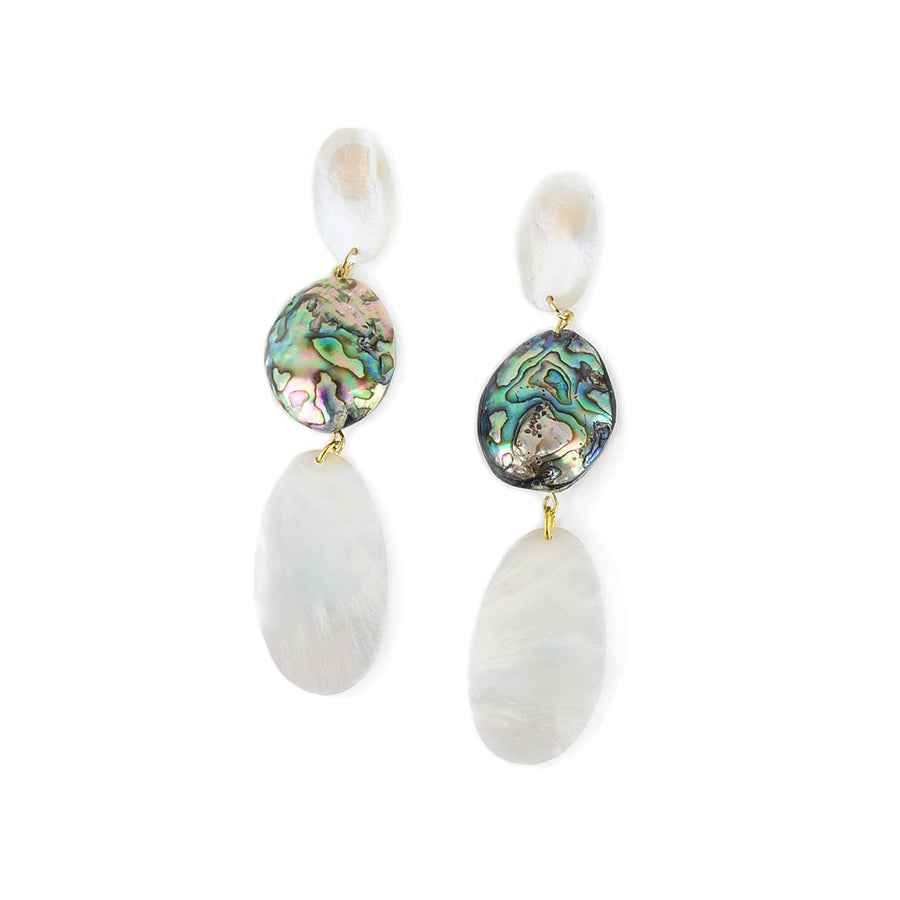 MOP DANGLE AND ABALONE ACCENT EARRINGS