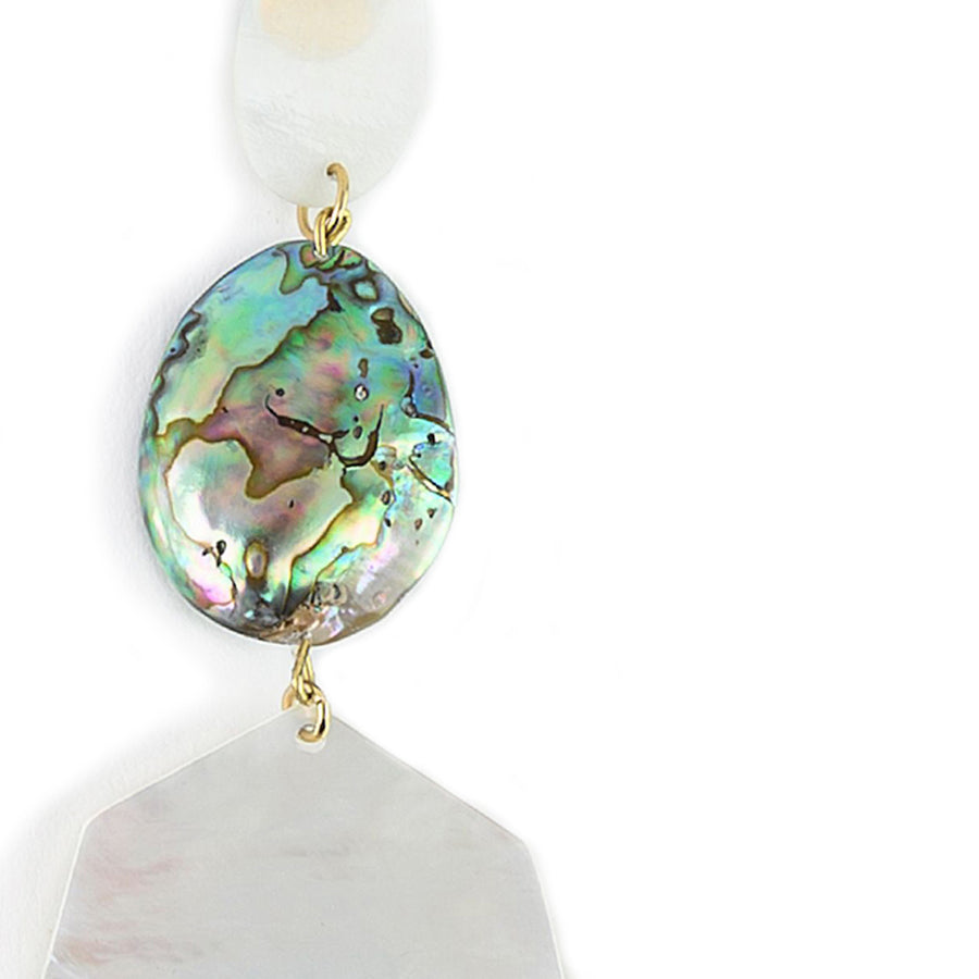 FREEFORM STATEMENT MOTHER-OF-PEARL EARRINGS WITH ABALONE ACCENTS