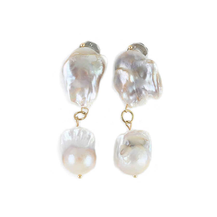 DOUBLE DROP BAROQUE PEARL EARRINGS