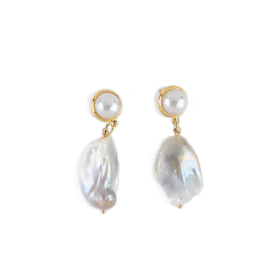 FAUX PEARL AND  ROUND BAROQUE PEARL EARRINGS