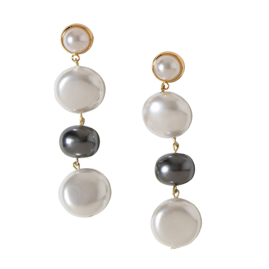 CASCADING GLASS PEARL DROP EARRINGS. PEARL WHITE/GRAY