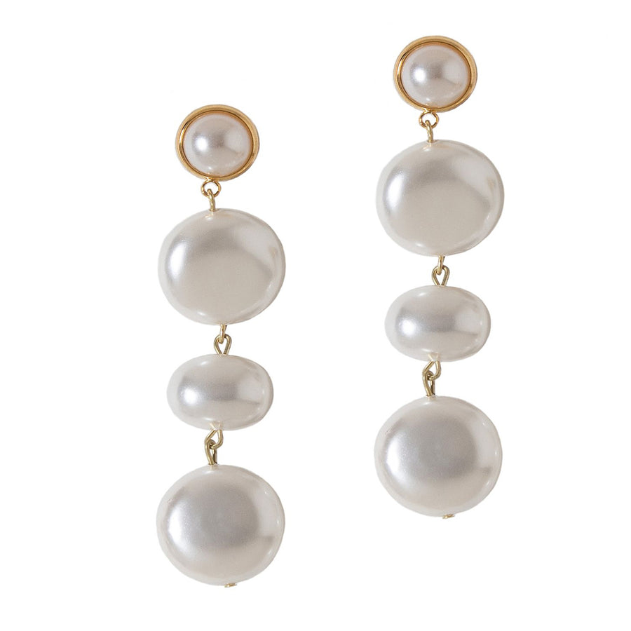 CASCADING GLASS PEARL EARRINGS. PEARL WHITE
