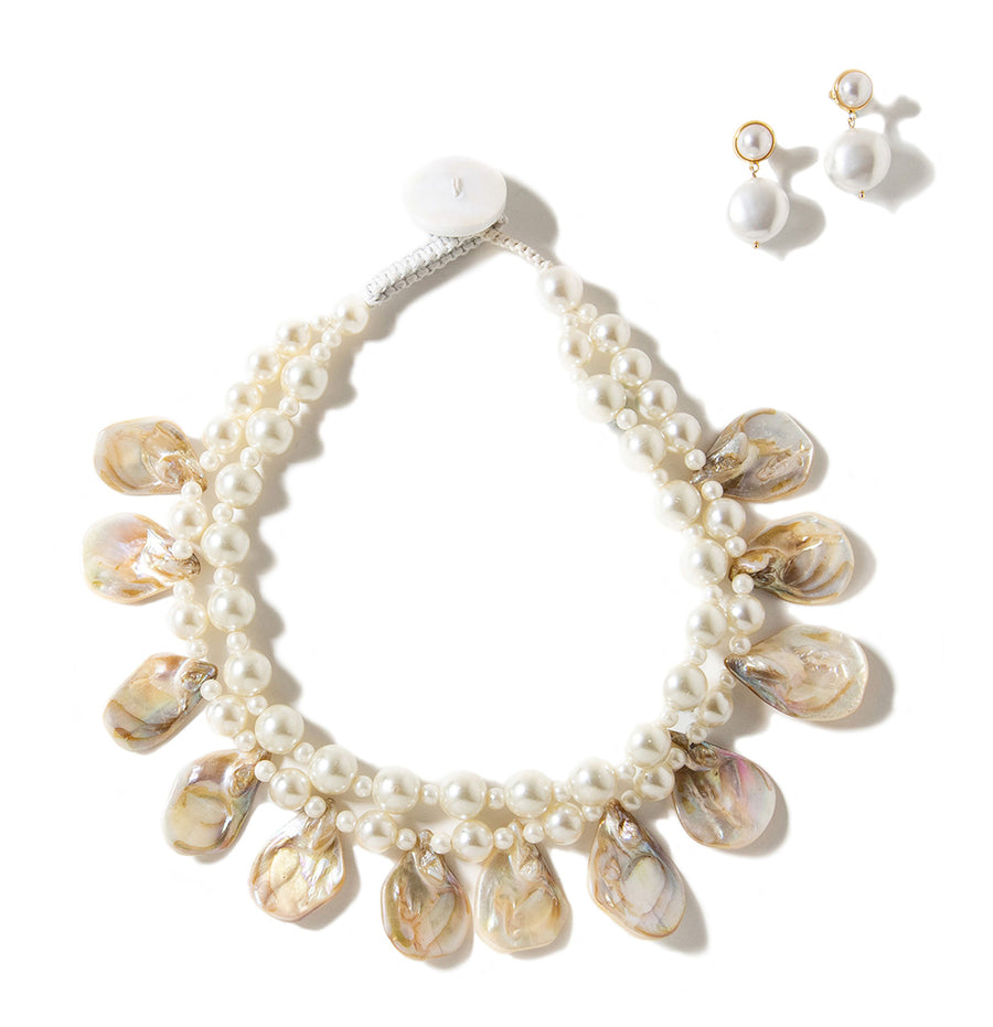 DOUBLE STRAND FAUX PEARL PETAL NECKLACE