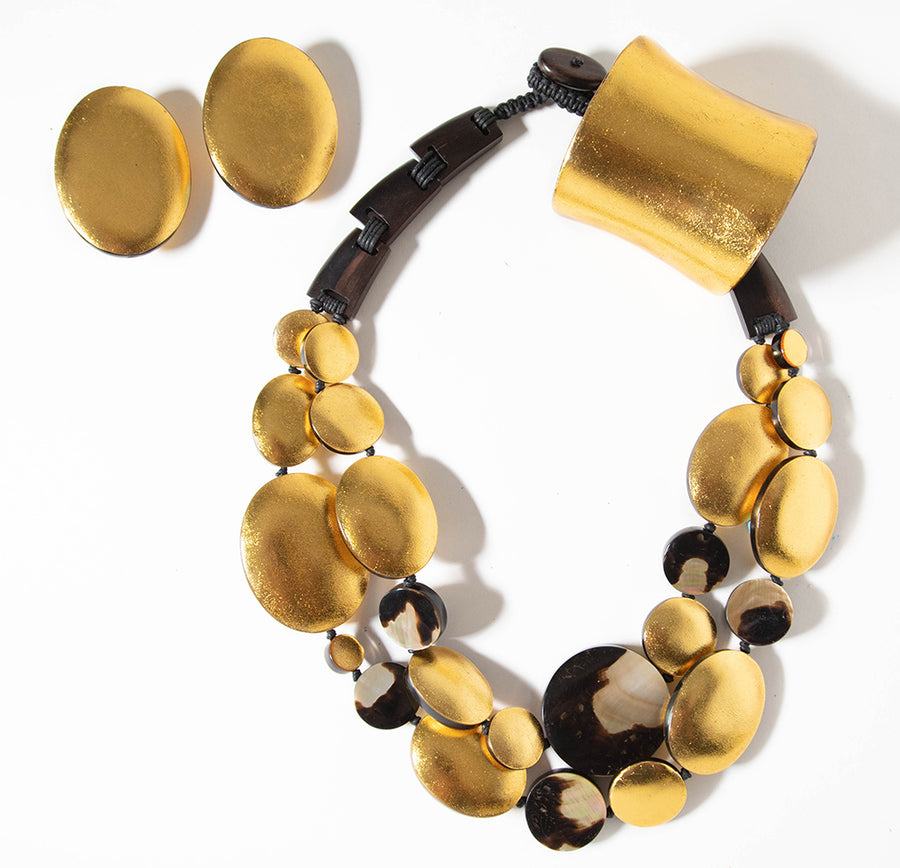 GOLD FOIL/LEOPARD SHELL AND WOOD BAR STATEMENT NECKLACE