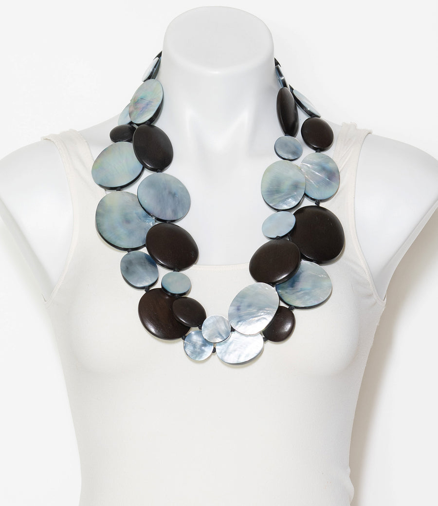 DOUBLE STRAND WOOD AND SHELL STATEMENT NECKLACE