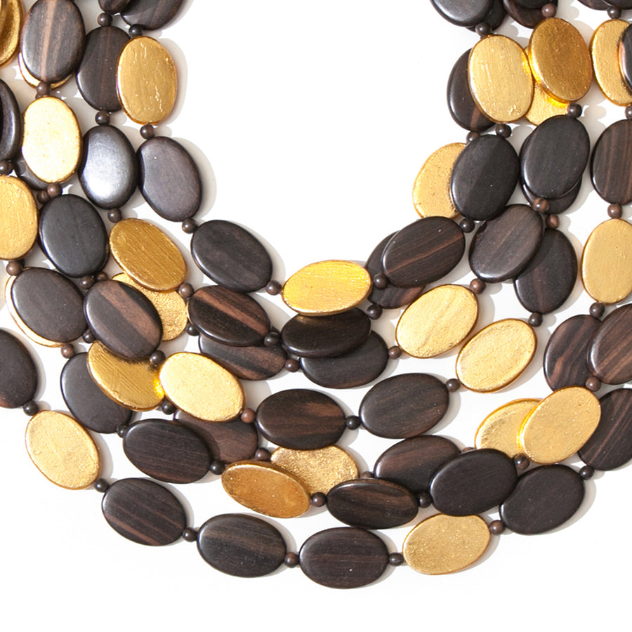 SEVEN STRAND WOOD/GOLD BEADED NECKLACE	WOOD/GOLD FOIL