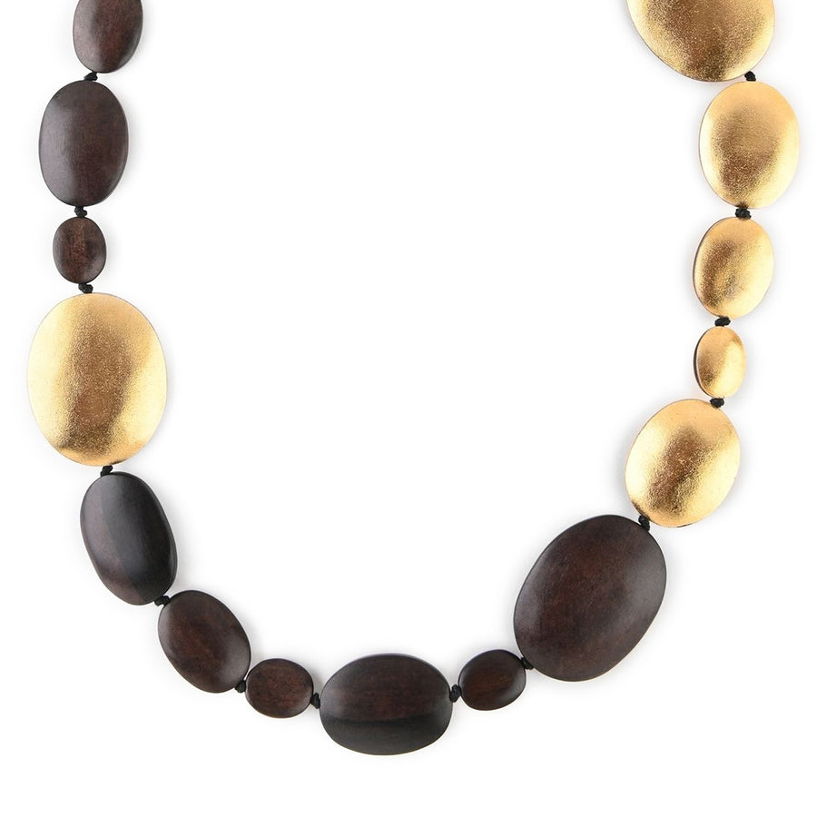 LONG OVAL WOOD AND GOLD FOIL NECKLACE WOOD/GOLD FOIL