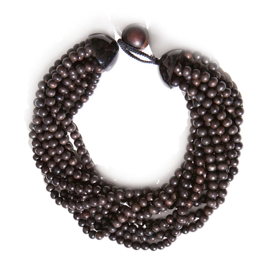 MULTIROW BEADED NECKLACE. TIGER WOOD