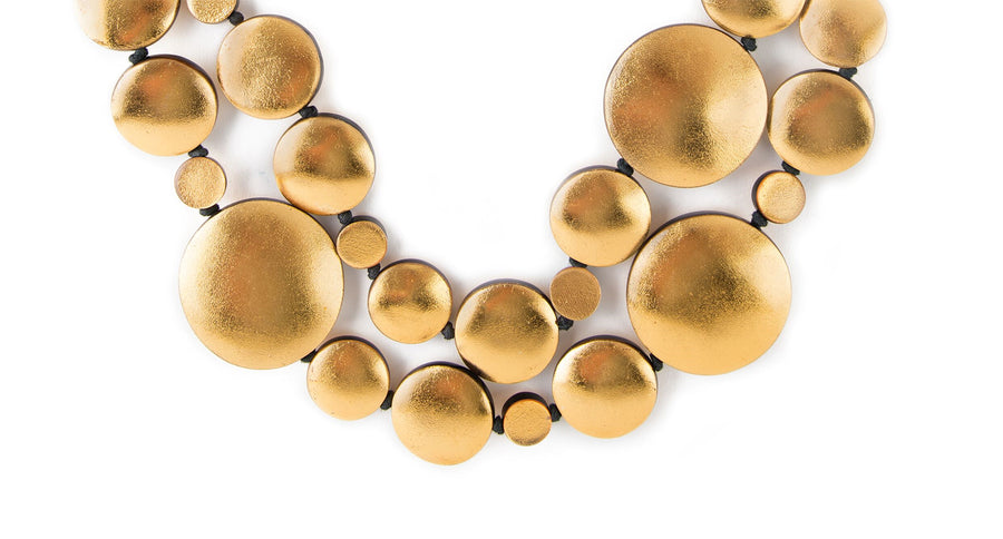GOLD FOIL DISC AND WOOD BAR NECKLACE