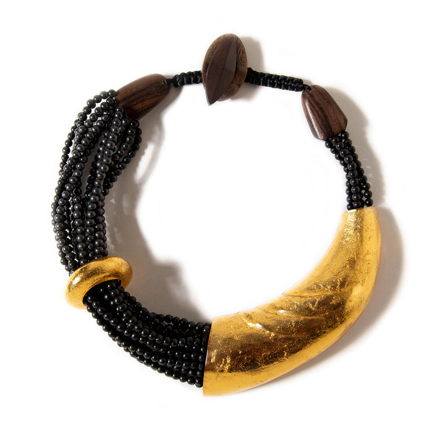 GOLD FOIL AND WOOD RIDGED PLATE NECKLACE