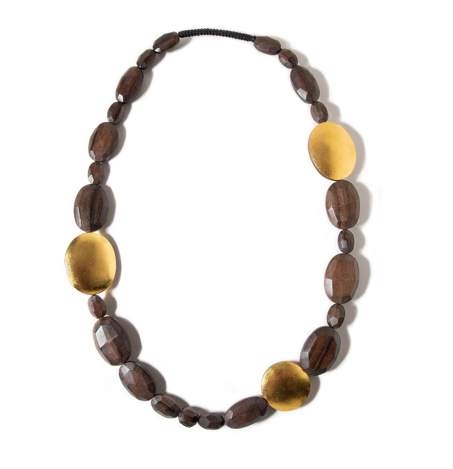 LONG WOOD BEADED NECKLACE WITH GOLD FOIL ACCENTS