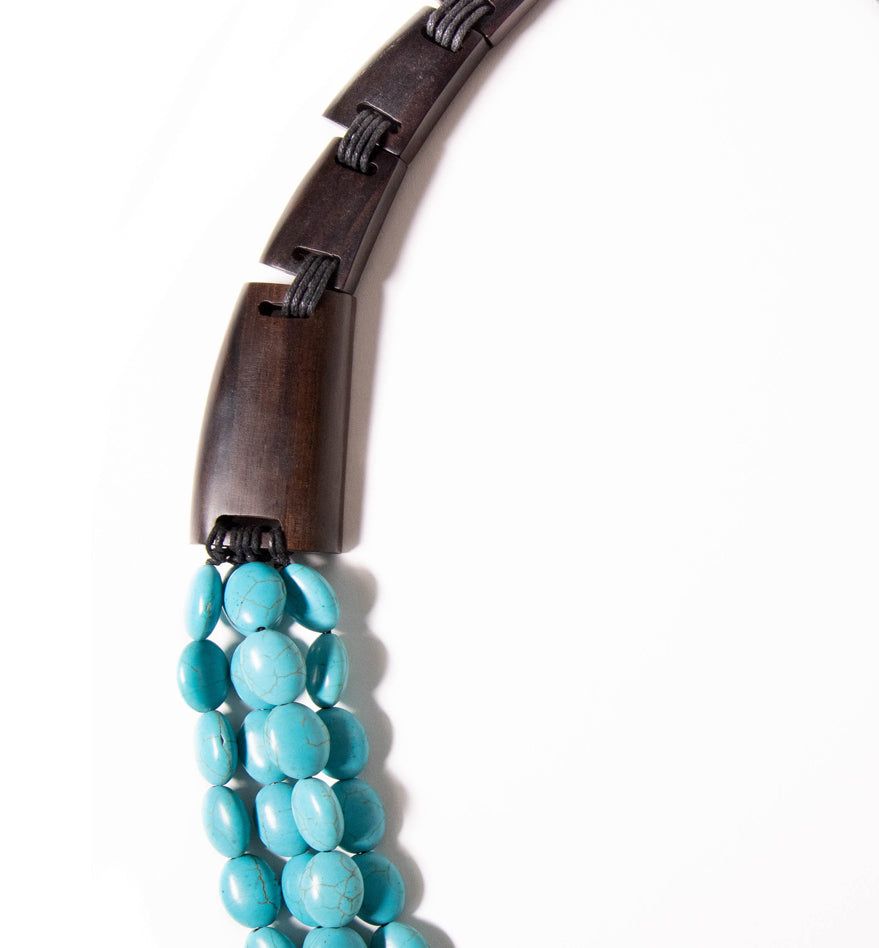 BEADED TURQOUISE AND WOOD STATEMENT NECKLACE