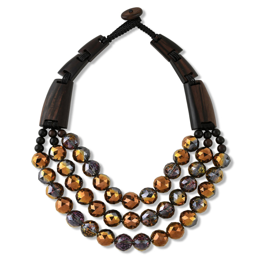 MULTISTRAND BEADED AND WOOD BAR STATEMENT NECKLACE. COPPER/BROWN