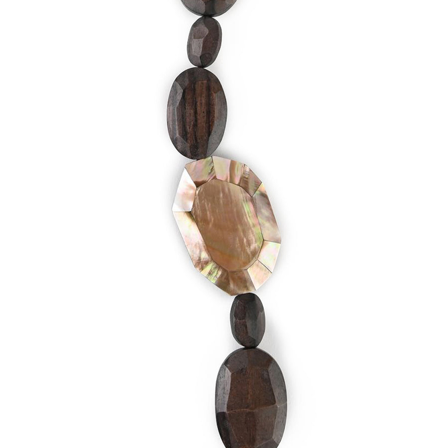 SINGLE FACETED WOOD AND MOP NECKLACE WOOD/BLUSH