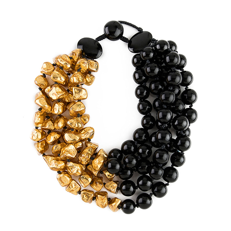 HALF/HALF BEADED RESIN/GOLD FOIL NECKLACE