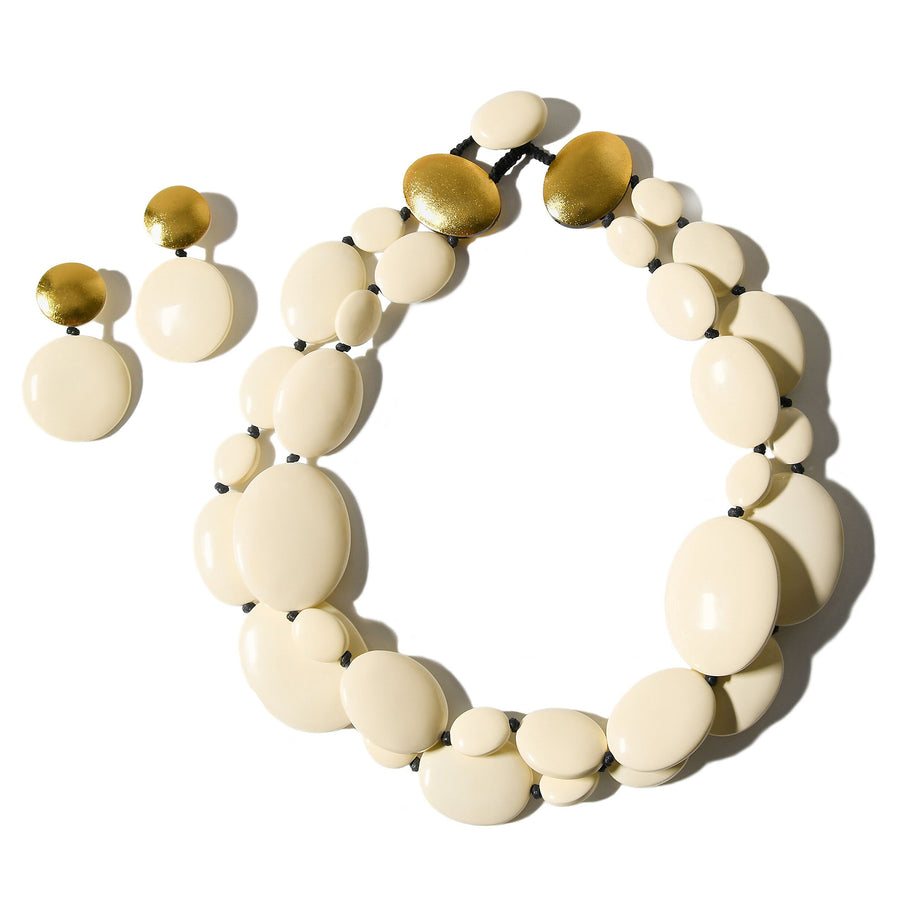 DOUBLE STRAND CREAM/GOLD STATEMENT NECKLACE