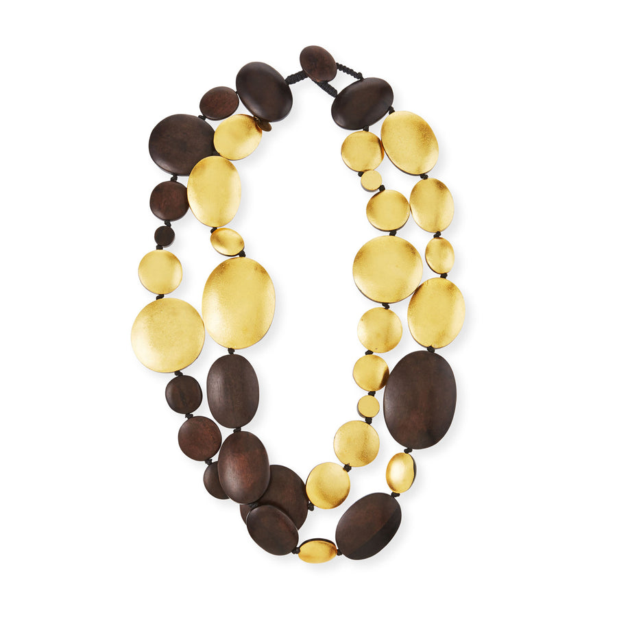 DOUBLE STRAND DISC WOOD/GOLD NECKLACE BROWN WOOD/GOLD