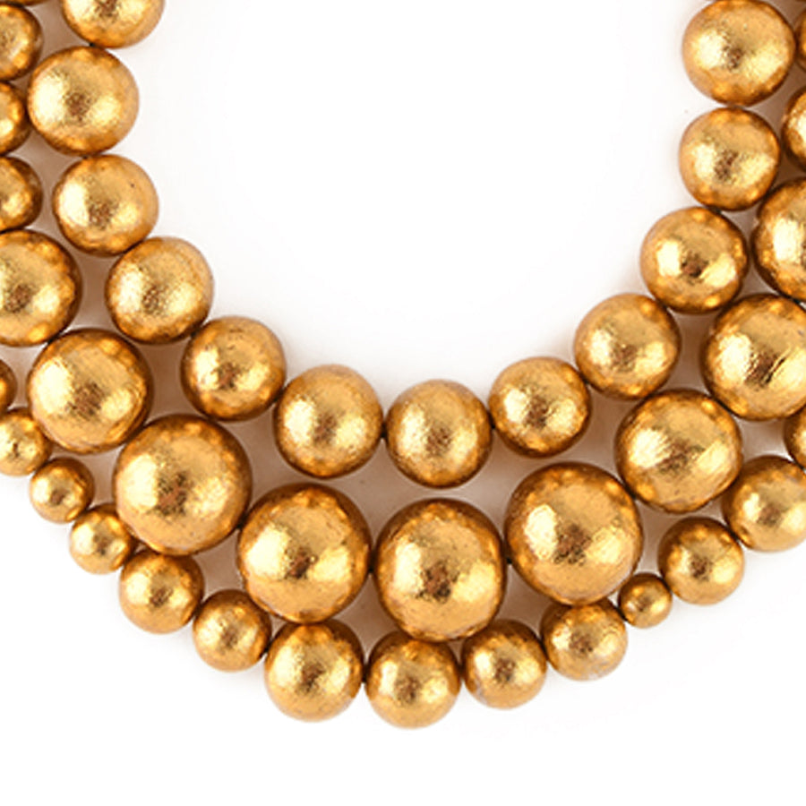 TRIPLE STRAND BEADED NECKLACE GOLD FOIL