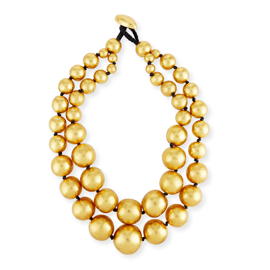 DOUBLE STRAND GOLD FOIL NECKLACE/GOLD FOIL