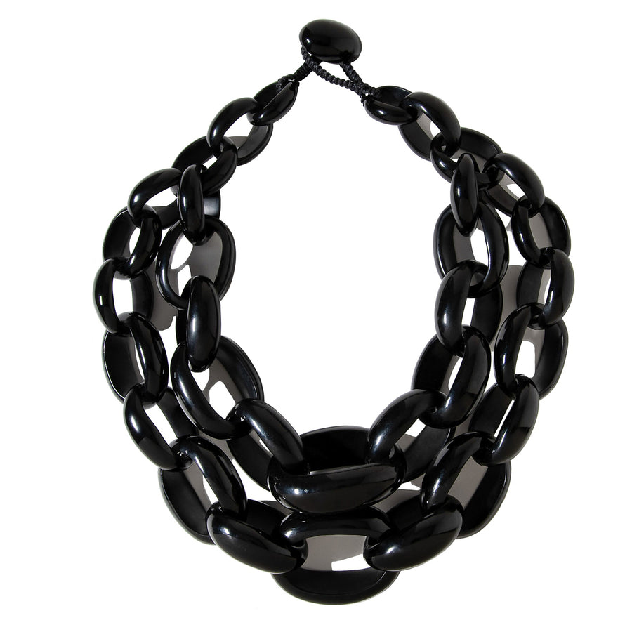 DOUBLE STRAND STATEMENT LINK NECKLACE